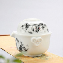 High quality elegant gaiwan Kung Fu Tea set Include 1 Teapot 1 Cup Easy to carry home travel essential  Beautiful teapot