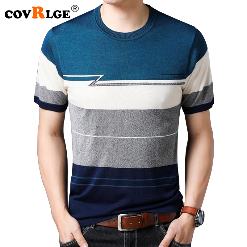 Covrlge Mens Short Sleeve Sweater 2018 New Summer Fashion Man Thin Pullover Male O-neck Striped Half Sleeve Mens Sweater MZS001