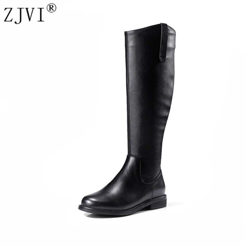 Chaussures Cuisse Haute Cuir Véritable Femme Hautes Noir Dames 2019 Femmes Bottes Roud Zjvi Toe Automne Hiver K1u3lFTJc5