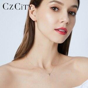 Image 3 - CZCITY Echtem 14K Gold Petite CZ Initial Brief Anhänger Halsketten für Frauen Einzigartige A Z Brief Halskette Schmuck Geschenke