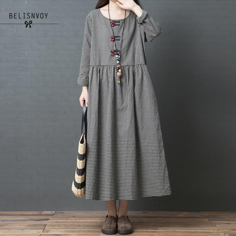 Autumn New Vintage Loose Fashion Cotton And Linen Long Sleeve Knee-length Plaid Women