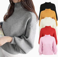 2019 New Korean Edition College Wind Half-high-collar sweater Women's Loose Hundred Lantern Sleeve Knitted Sweater(China)