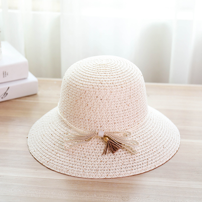 New Color String Ribbon Hat Bow Female Paillette Straw Hats Summer Seaside Resort Foldable Beach Hat Girl Wide Side Sun Hat