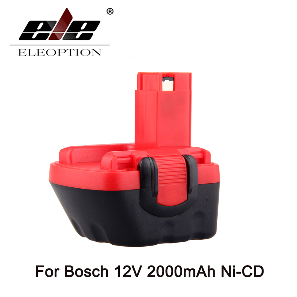 ELEOPTION 12V Ni-CD 2000mAh Replacement Power Tool Battery for Bosch BAT043 2 607 335 692 Bosch 22612 Bosch 23612 Black&Red new 24v ni mh 3 0ah replacement rechargeable power tool battery for bosch bat299 bat240 2 607 335 637 bat030 bat031 gkg24v