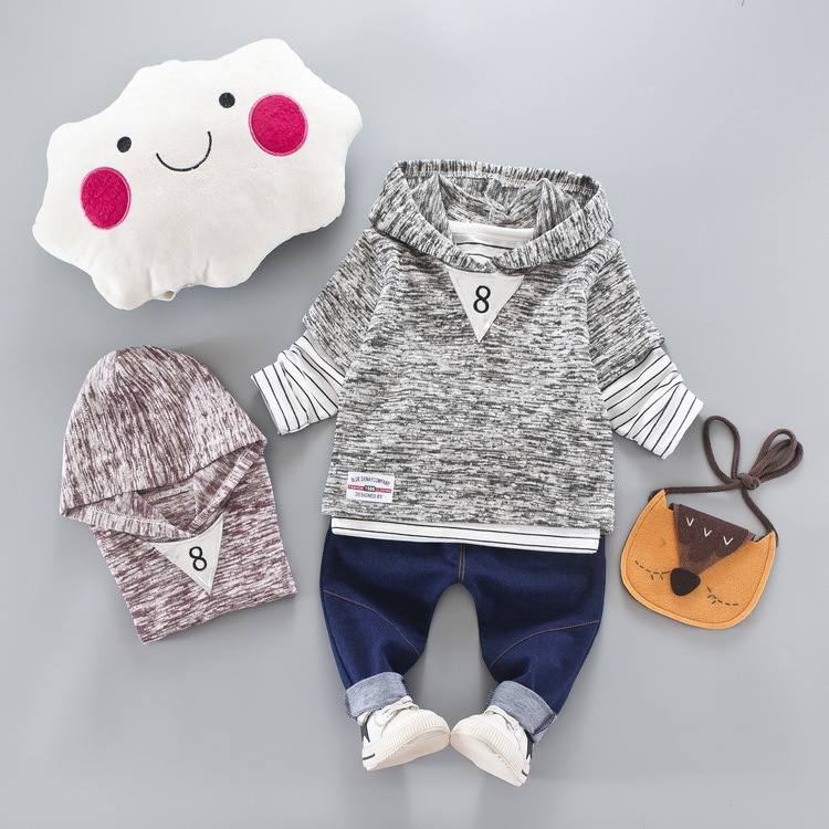 Nnilly 2018 Spring Autumn Recommend New Favourite Loose Baby Clothes Baby Boy Clothes Hooded Brand Print 3pcs/set T-shirt+Pants
