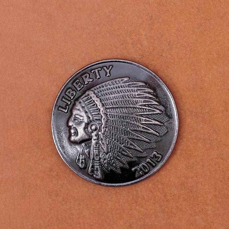 10PCS Vintage Silver Nickel Indian Head Screw Back Conchos For LeatherCraft Belt