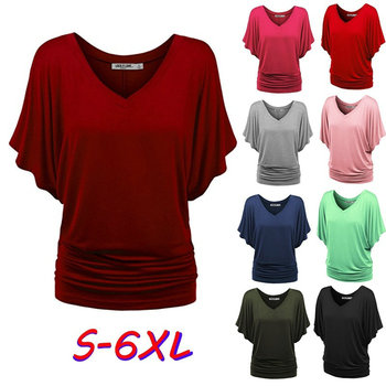 ZOGGA Plus Size S-6XL Women Summer Shirts Casual V-Neck Batwing Short Sleeve Tops Tees Solid Loose Fashion Blouses Blusa Mujer