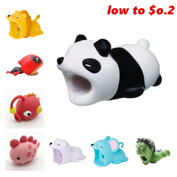 cute Cable Bite dogs panda Protector Animal For Iphone Shark Bite Mobile Phone Connector Accessory Organizer Doll protectores de cargador iphone
