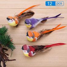 12pcs DIY Artificial Bird Feather Foam Cute Simulation Sparrow Home Decor Table Bookshell Ornament Mini Craft Birds