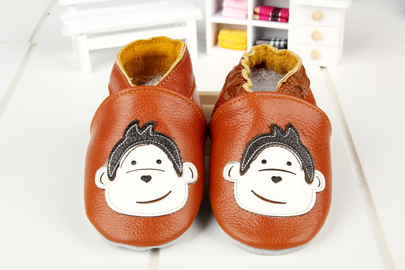 NEW Baby Boy Girl Monkey Brown First Walker Soft Sole Crib Shoes Slippers