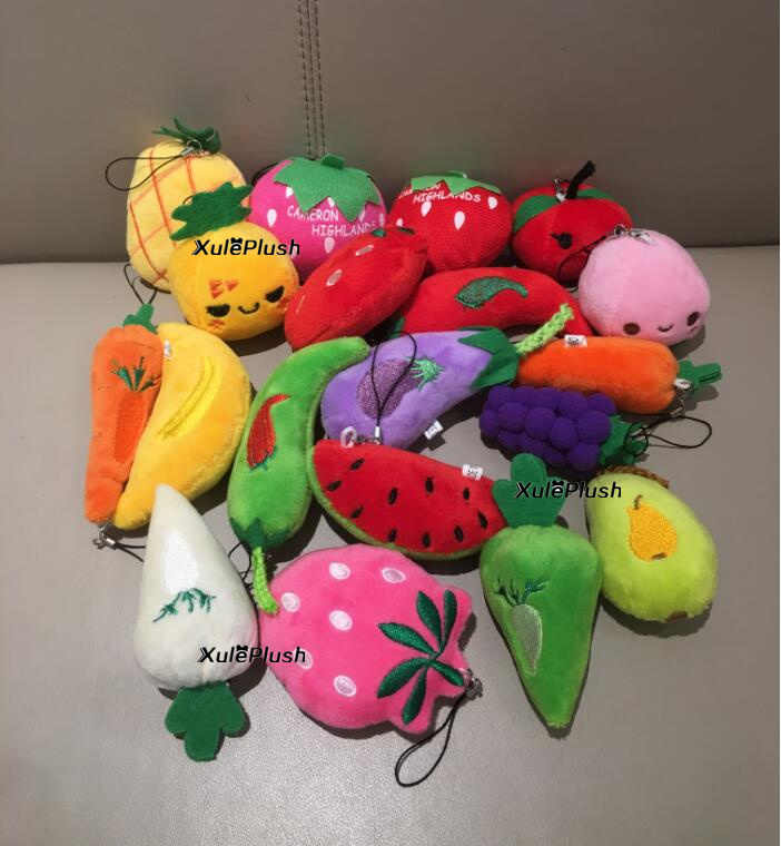 כל עיצובים-מיני גודל 5-9cm קטן פירות וירקות בחירה-בפלאש ממולא צעצוע, מפתח שרשרת תליון בפלאש צעצועי בובות