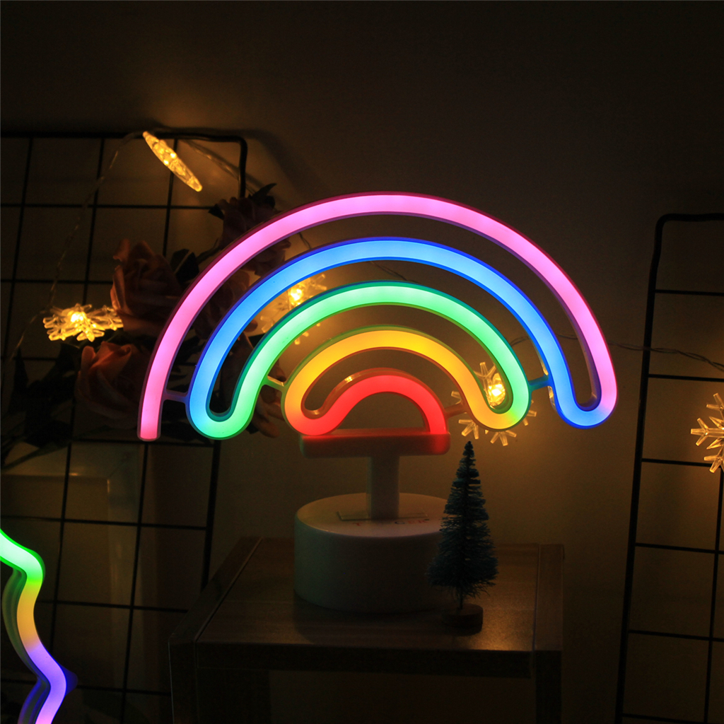 Cute LED Night Light Rainbow Neon Sign Christmas Decorations For Home, Neon Lamps For Girls Gift Xmas Cactus Lamp Dropshipping