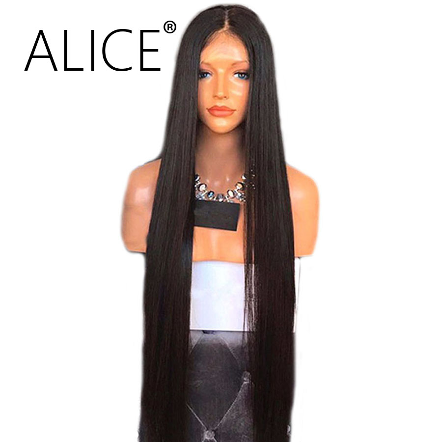 ALICE 130 Density Silky Straight Lace Front Human Hair Wigs Brazilian Remy Hair 8-24 Inches Natural Color Wigs For Black Women