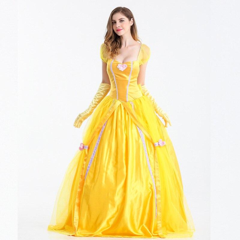 S-XXL grožis ir žvėrys Helovinas princesė belle cosplay Suknelė geltona šalis karnavalas išgalvotas pasakų kostiumų scenos kostiumas