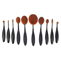 BBL 10 Piece Black Oval Toothbrush Makeup Brush Set Soft Foundation Powder Concealer Highlighter Eyeshadow Brush