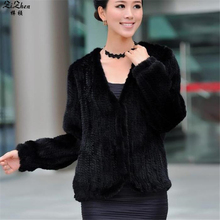 Autumn Winter Women Hand Knitted Natural Real Natural Genuine Mink Fur Coat Jacket Cardigan With Pocket