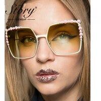 История Для женщин негабаритных Солнцезащитные очки для женщин большой Очки Рамки кошачий глаз, горный хрусталь Защита от солнца Очки для Д...