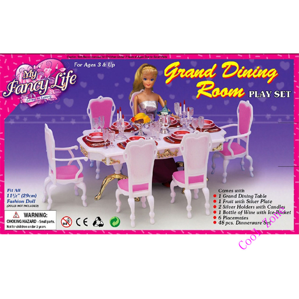 Miniature Furniture My Fancy Life Grand Dining Table For Barbie Doll House Toys Tablewares Accessories For Girl Free Shipping Toy Necklace Furniture Businesstoys For The Beach Aliexpress