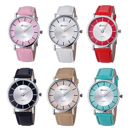 Women Retro Round Dial Faux Leather Band Analog Quartz Movement Wrist Watches