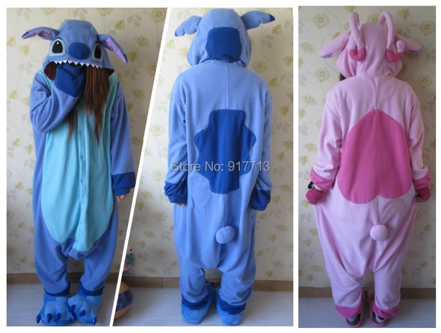 Hot !! Fashion Anime Unisex Adult Animal Pajamas Pink/ Blue Lilo Stitch Onesie Cosplay Costume Sleepwear Size - T&Z CrazyBuy Center store