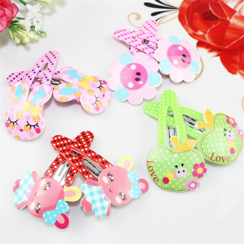 Fashion Hair Clip Acrylic Children Hair Accessories Rabbit Flower Shape Hairpins Baby Kids Toddler Girls Bobby Pins 4 Pcs baby cute style children accessories hairpins rabbit fur ear kids girls barrette lovely hair clip