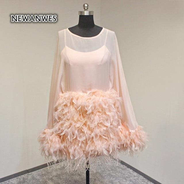 Vestido De Curto Rosa Long Sleeves Short Promi Kleid Feder Gerade ...