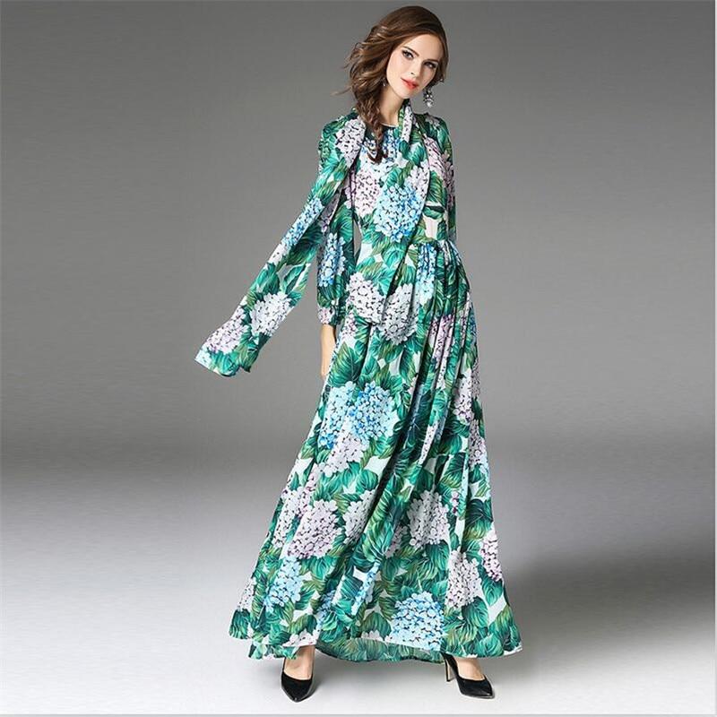 Largo Sashes Vestido Mangas Impresión Estilo Primavera Piso Imperio La De Mujeres longitud Floral Verde Bohemio Gasa vwnqc4HB5