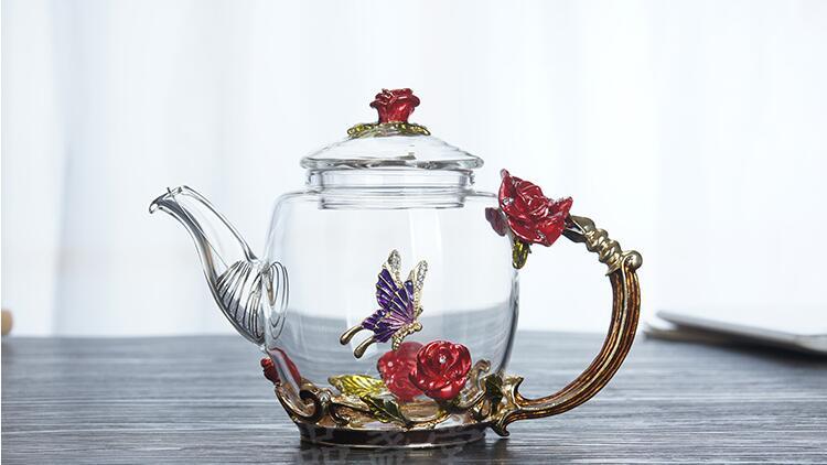 flor de vidro bule de chá de