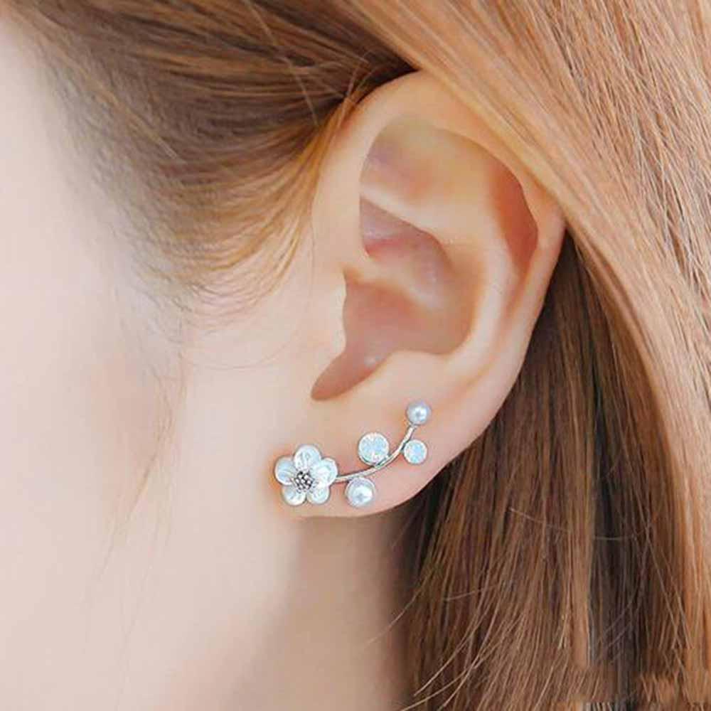 Tomtosh 2017 New Fashion Crystal Earrings Pearl Women Branch Shell Pearl Flower Stud Earrings Female