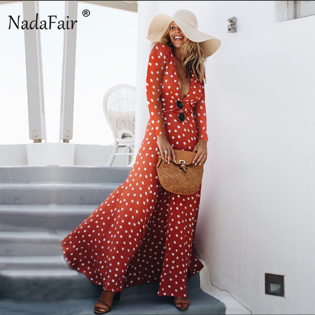 1c56aec15 ... alta dividir sexy de manga longa maxi boho praia elegante. Nadafair  Polka Dot Long Dress Women Deep V Neck Sash Lace Up High Split Sexy Dress