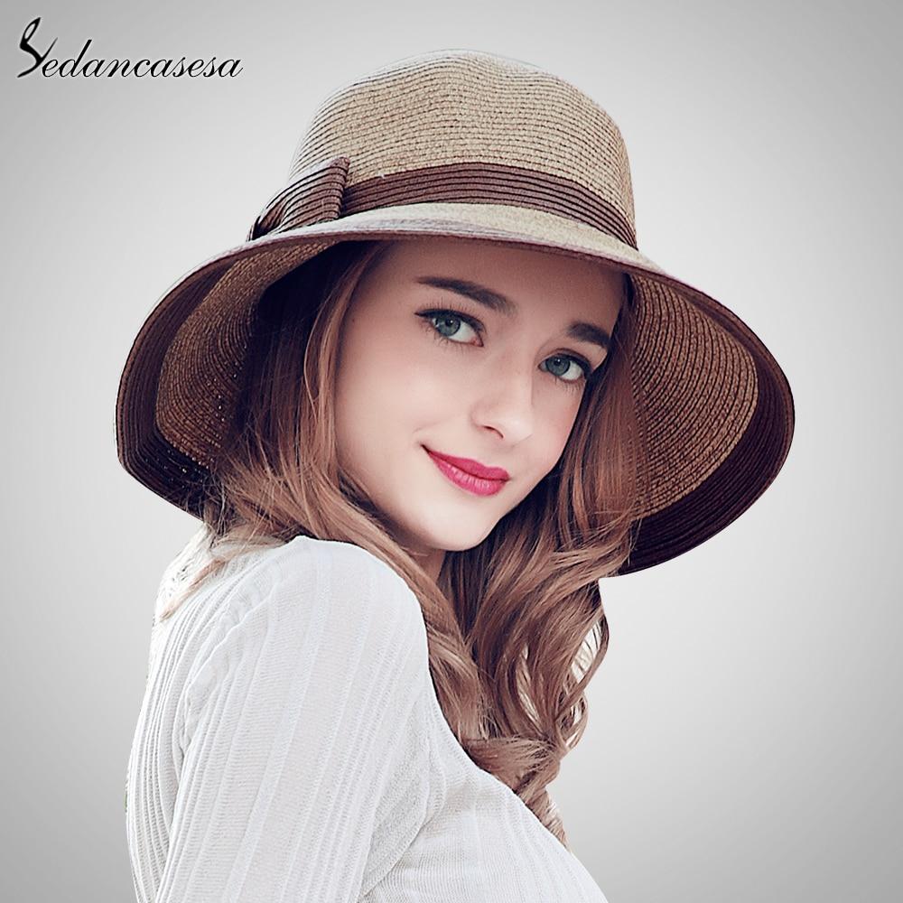 Sedancasesa Summer Handmade bow Straw hat womens Garland sunbonnet bucket  hat roll-up hem beach cap sun hat for women SW105082 1017feb06ff
