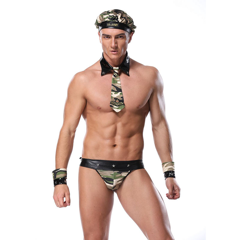 <font><b>Sexy</b></font> Soldier Camouflage Cosplay Costumes Professional Camouflage Outfit <font><b>Halloween</b></font> Soldier Uniforms 4Pcs <font><b>Men</b></font> Exotic Lingerie Set image