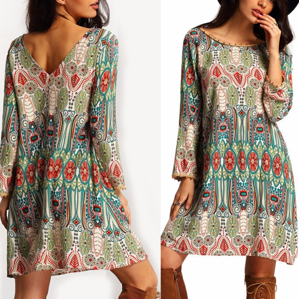 Elegant Sexy Boho Vintage Long Sleeve Women Dress Bohemian Tunic Short Clothing Female Vestidos Vestido De Festa Robe Femme 2016 8