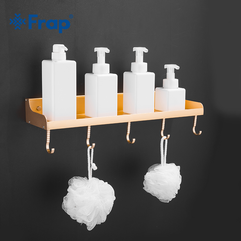 FRAP Bathroom Shelf Cosmetic Rack Wall Hanging Rack Wall Storage Shelf with Hooks Bathroom Aluminum Kitchen Accessories Y38011 a1 hotel bathroom washbasin wall hanging solid thickening rack space aluminum wall hanging storage rack wx7201648