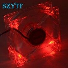 Ventilateur de pc 8025 8cm, ventilateur d'unité de PC, châssis de lumières rouges, 80x80x25