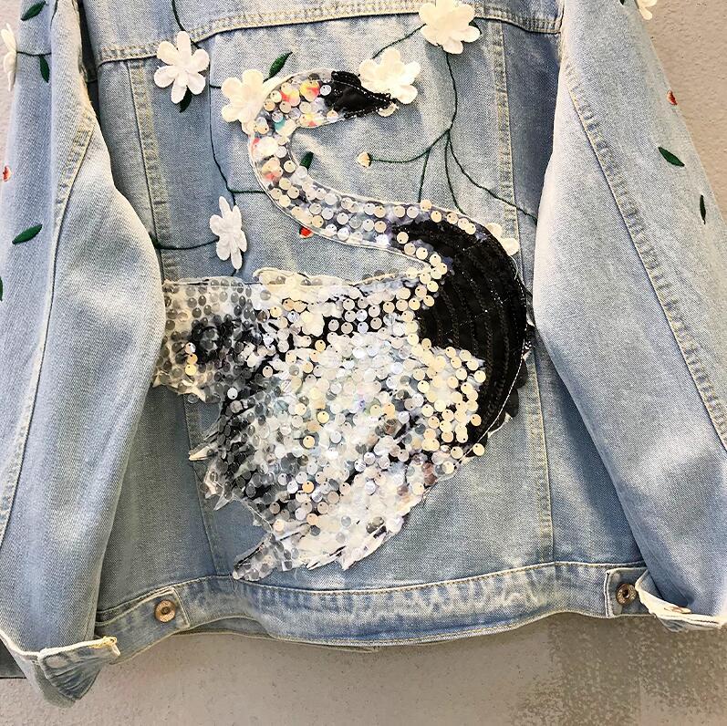 2019 Lâche Denim Jeans Rétro Bleu Nouveau Manteau Swan De Lourd Femmes Sac Kelly Étudiants Paillettes Vestes Broderie BU7rB