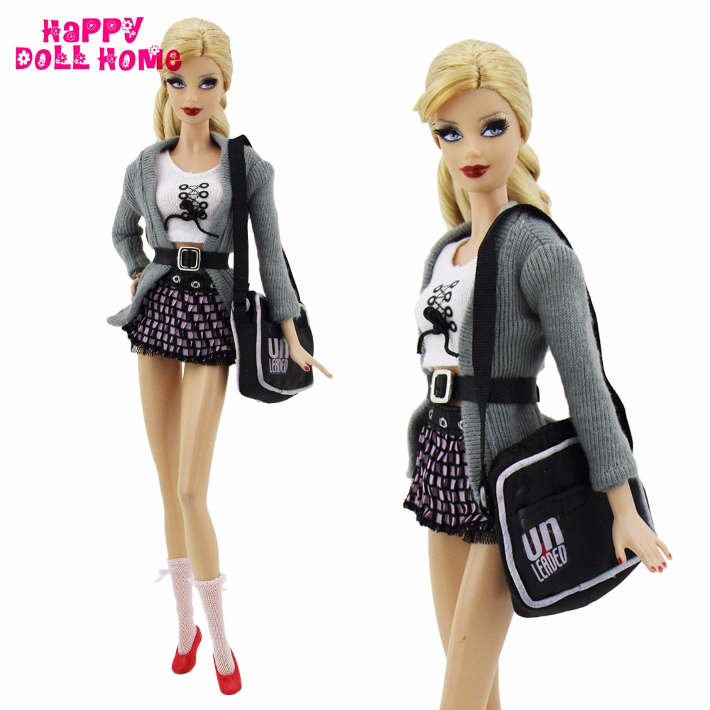 7 in 1 Handmade Outfit Fashion Costume Tops Coat Skirt Socks Belt Shoes Bag Accessories For Barbie Doll Clothes Kid Toy Gift платье columbia harborside woven sleeveless dress цвет синий розовый 1709571 485 размер m 46
