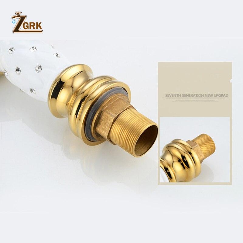 ZGRK robinets de bassin doré salle de bains évier robinet Design créatif cristal pont monté eau chaude et froide mitigeur monotrou robinets - 4
