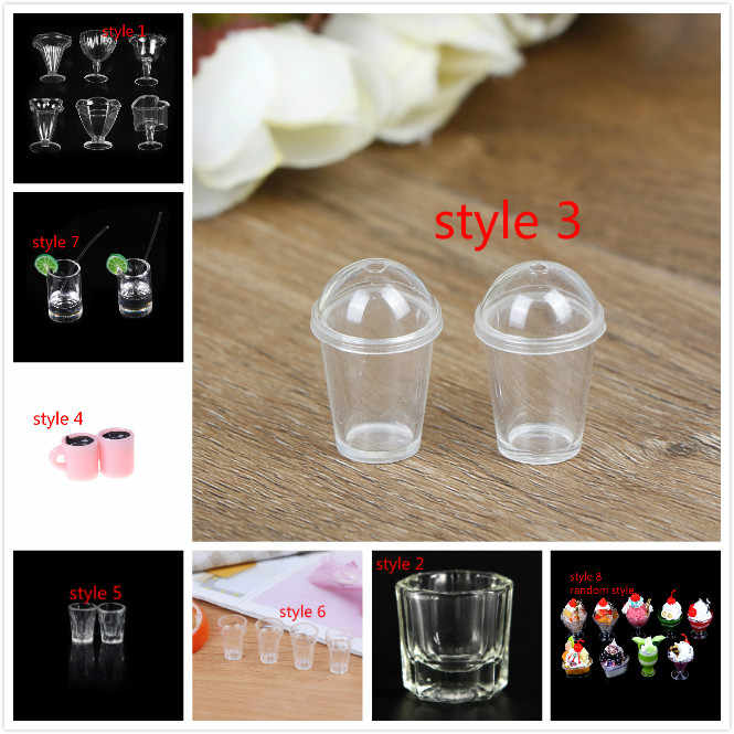 1/2/4/6Pcs/Lot 1:12 Dollhouse mini milk tea cup with straw simulation drink Food Drink Beverage Toy Decoration model toy