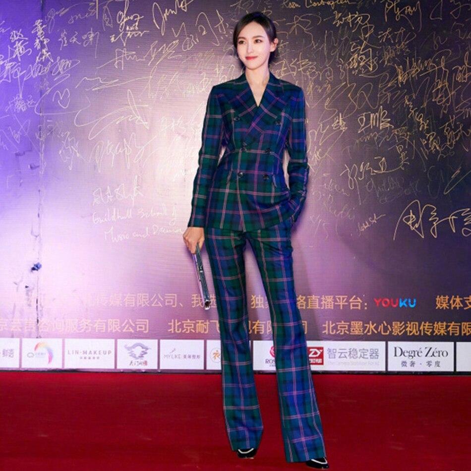 איכות גבוהה 2019 חדש מכנסיים חליפות נשים אופנה חדש מעצב סלבריטאים כחול משובץ בלייזר מכנסיים שתי חתיכות סטי חליפת משרד ליידי