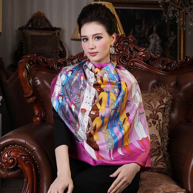 Весна европейский марка большие 100% чистый шелк шарф квадрат цветочный принт розовый осень шелк mulberry платки 88 * 88 см
