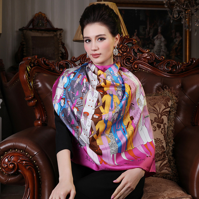 new 2014 spring european brand large 100% pure Silk scarf square floral print pink autumn fashion mulberry silk shawls 88*88cm
