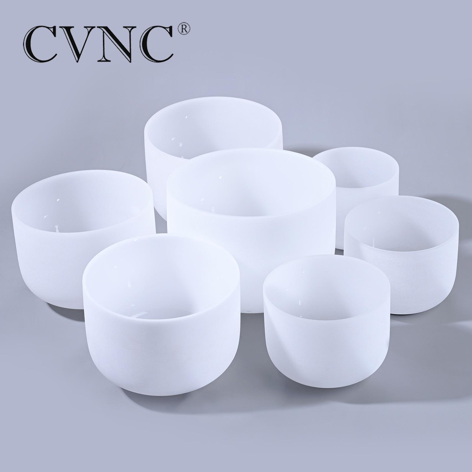 CVNC 440Hz or 432Hz Chakra Tuned set of 7PCS 8  Frosted Quartz Crystal Singing Bowls