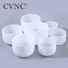 CVNC 440Hz or 432Hz Chakra Tuned set of 7PCS 8  Frosted Quartz Crystal Singing Bowls
