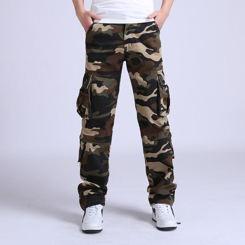 2017 calças da carga dos homens tático solto Camuflagem Do Exército militar calças dos homens calças de Algodão Homem Homme Pantalon Calças de Combate tamanho 42