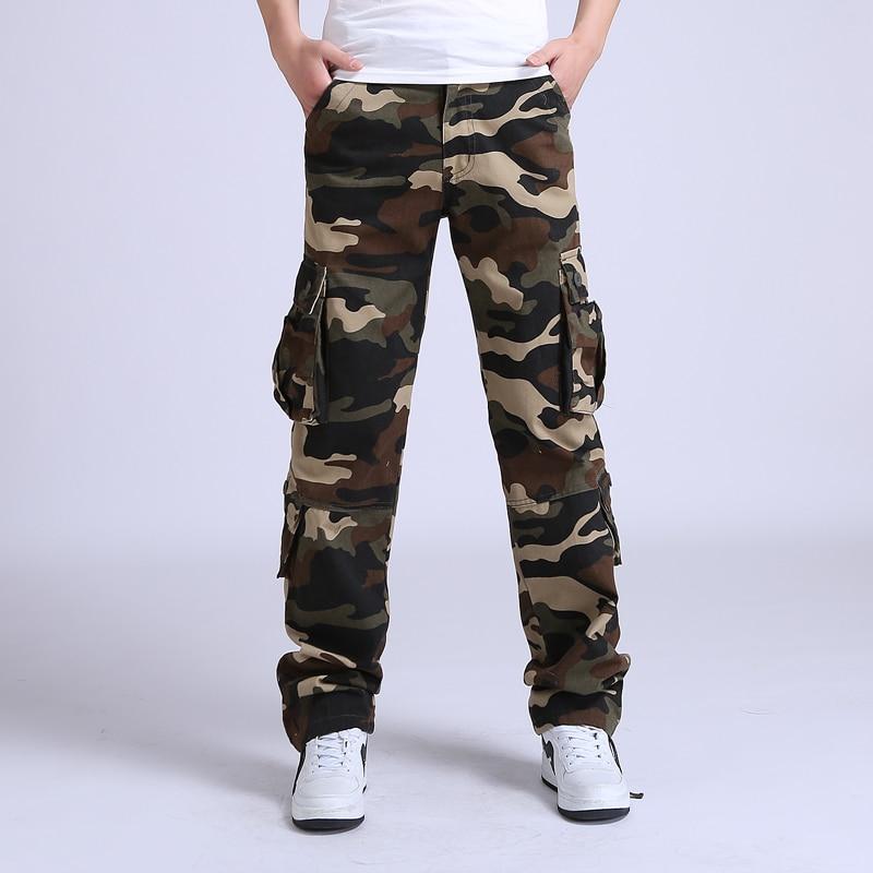 2017 kravas bikses vīriešiem taktiskas vaļīgas Camouflage Armijas militārās bikses vīriešiem Kokvilnas bikses Man Pantalon Homme Combat Bikses izmērs 42