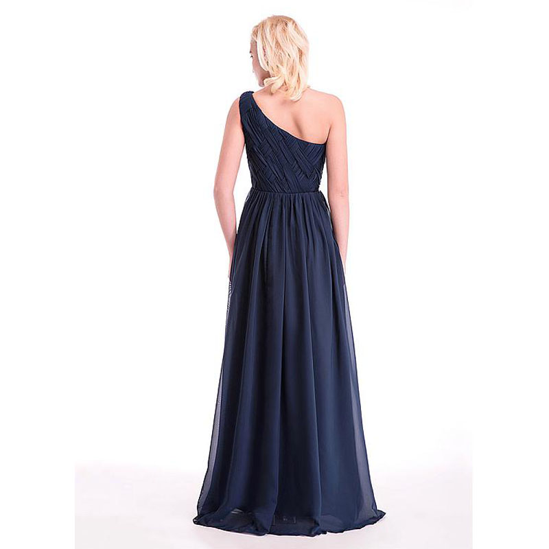 One Shoulder Pleat Beaded Long Evening Dresses 2016 Chiffon Navy blue Evening  Gowns Party Dresses Simple Cheap China Made Formal-in Evening Dresses from  ... 8e6ce8b1590a