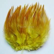 Lindo! 50 pcs 4-6 polegada/10-15 cm Cor natural faisão penas Rooster Tail Plume de Frango Amarelo jóias Diy decoração