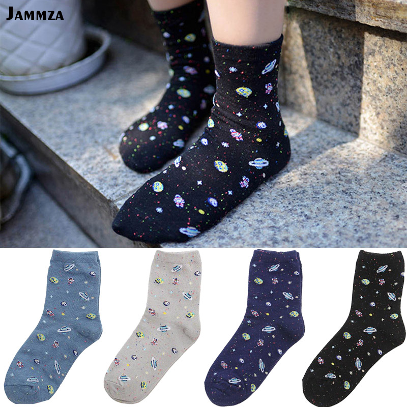 New Starry sky Winter Cotton Women Space Socks Korea Women's Summer Fashion Astronaut Planet Socks Universe Novelty Short Socks