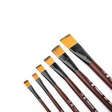 6 шт нейлоновые волосы деревянная ручка разного размера акварельные акриловые масляные краски набор кистей для рисования краски товары для рукоделия